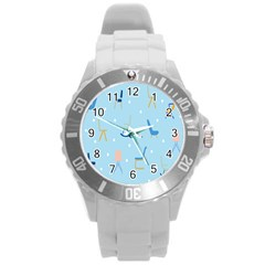 Seat Blue Polka Dot Round Plastic Sport Watch (L)
