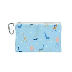 Seat Blue Polka Dot Canvas Cosmetic Bag (S)