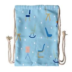 Seat Blue Polka Dot Drawstring Bag (Large)