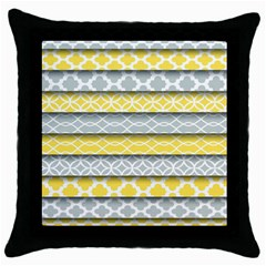 Paper Yellow Grey Digital Throw Pillow Case (Black)