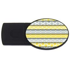 Paper Yellow Grey Digital USB Flash Drive Oval (2 GB)