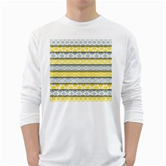 Paper Yellow Grey Digital White Long Sleeve T-Shirts