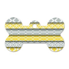Paper Yellow Grey Digital Dog Tag Bone (One Side)
