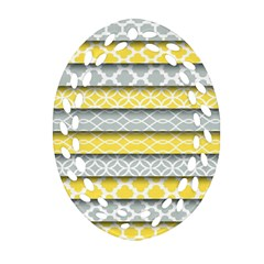 Paper Yellow Grey Digital Oval Filigree Ornament (Two Sides)
