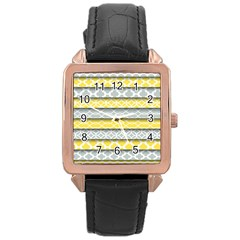 Paper Yellow Grey Digital Rose Gold Leather Watch