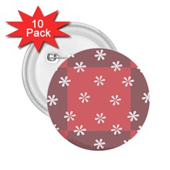 Seed Life Seamless Remix Flower Floral Red White 2.25  Buttons (10 pack)