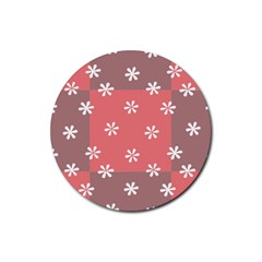 Seed Life Seamless Remix Flower Floral Red White Rubber Round Coaster (4 pack)