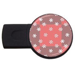 Seed Life Seamless Remix Flower Floral Red White USB Flash Drive Round (1 GB)