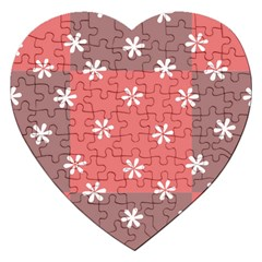 Seed Life Seamless Remix Flower Floral Red White Jigsaw Puzzle (Heart)