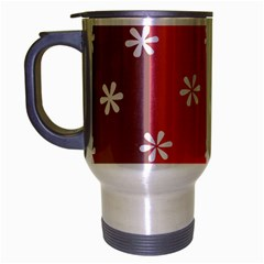 Seed Life Seamless Remix Flower Floral Red White Travel Mug (Silver Gray)