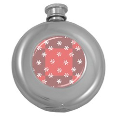 Seed Life Seamless Remix Flower Floral Red White Round Hip Flask (5 oz)