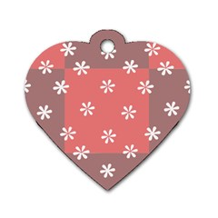 Seed Life Seamless Remix Flower Floral Red White Dog Tag Heart (One Side)