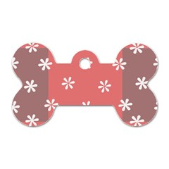Seed Life Seamless Remix Flower Floral Red White Dog Tag Bone (One Side)