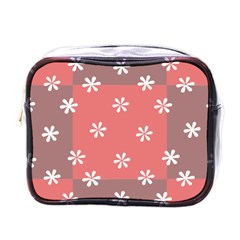 Seed Life Seamless Remix Flower Floral Red White Mini Toiletries Bags
