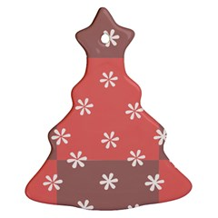 Seed Life Seamless Remix Flower Floral Red White Christmas Tree Ornament (Two Sides)
