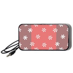 Seed Life Seamless Remix Flower Floral Red White Portable Speaker (Black)