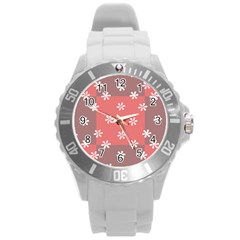 Seed Life Seamless Remix Flower Floral Red White Round Plastic Sport Watch (L)