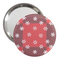Seed Life Seamless Remix Flower Floral Red White 3  Handbag Mirrors