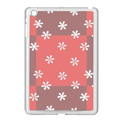 Seed Life Seamless Remix Flower Floral Red White Apple iPad Mini Case (White)