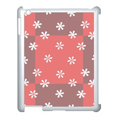 Seed Life Seamless Remix Flower Floral Red White Apple iPad 3/4 Case (White)