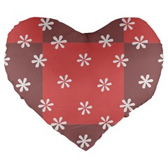 Seed Life Seamless Remix Flower Floral Red White Large 19  Premium Heart Shape Cushions