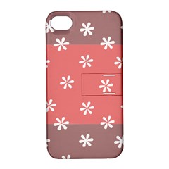 Seed Life Seamless Remix Flower Floral Red White Apple iPhone 4/4S Hardshell Case with Stand
