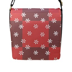 Seed Life Seamless Remix Flower Floral Red White Flap Messenger Bag (L)