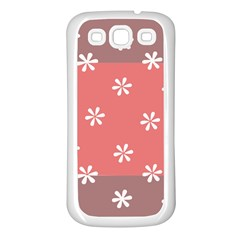 Seed Life Seamless Remix Flower Floral Red White Samsung Galaxy S3 Back Case (White)