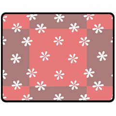 Seed Life Seamless Remix Flower Floral Red White Double Sided Fleece Blanket (Medium)