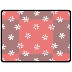 Seed Life Seamless Remix Flower Floral Red White Double Sided Fleece Blanket (large)