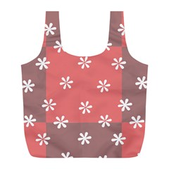 Seed Life Seamless Remix Flower Floral Red White Full Print Recycle Bags (L)
