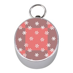 Seed Life Seamless Remix Flower Floral Red White Mini Silver Compasses