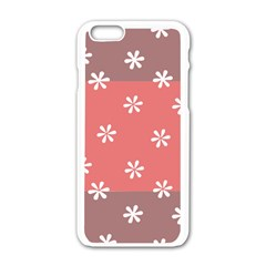 Seed Life Seamless Remix Flower Floral Red White Apple iPhone 6/6S White Enamel Case