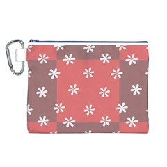 Seed Life Seamless Remix Flower Floral Red White Canvas Cosmetic Bag (L)