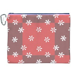 Seed Life Seamless Remix Flower Floral Red White Canvas Cosmetic Bag (XXXL)
