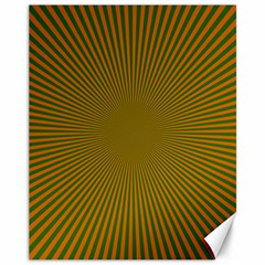 Stripy Starburst Effect Light Orange Green Line Canvas 11  x 14