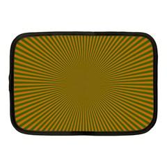 Stripy Starburst Effect Light Orange Green Line Netbook Case (Medium)