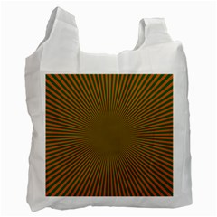 Stripy Starburst Effect Light Orange Green Line Recycle Bag (One Side)