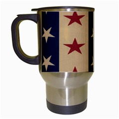 Stars Stripes Grey Blue Travel Mugs (White)