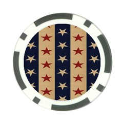 Stars Stripes Grey Blue Poker Chip Card Guard