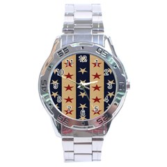 Stars Stripes Grey Blue Stainless Steel Analogue Watch