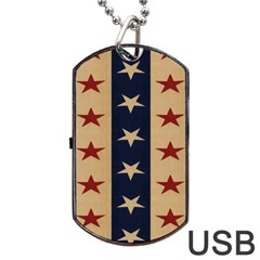 Stars Stripes Grey Blue Dog Tag USB Flash (Two Sides)