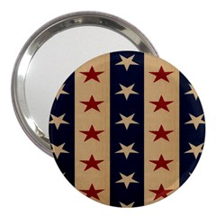 Stars Stripes Grey Blue 3  Handbag Mirrors