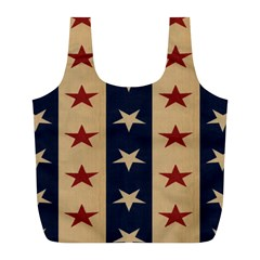 Stars Stripes Grey Blue Full Print Recycle Bags (L)
