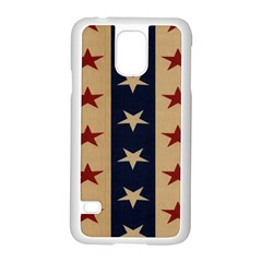 Stars Stripes Grey Blue Samsung Galaxy S5 Case (White)