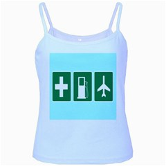 Traffic Signs Hospitals, Airplanes, Petrol Stations Baby Blue Spaghetti Tank