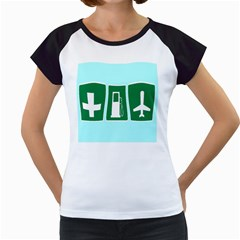 Traffic Signs Hospitals, Airplanes, Petrol Stations Women s Cap Sleeve T