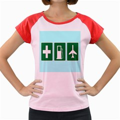 Traffic Signs Hospitals, Airplanes, Petrol Stations Women s Cap Sleeve T-Shirt