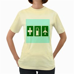 Traffic Signs Hospitals, Airplanes, Petrol Stations Women s Yellow T-Shirt
