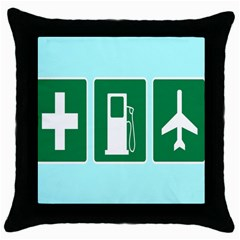 Traffic Signs Hospitals, Airplanes, Petrol Stations Throw Pillow Case (Black)